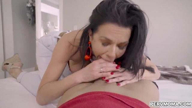 Veronica avluv is feeling horny but her husband is not yet home so she flirted with her stepson and starting sucking his juicy hard dick.